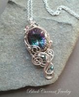 Mystical Topaz and Small Crystals Silver Pendant by blackcurrantjewelry