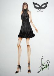 Black flower and transparent  little dress by verdecasa