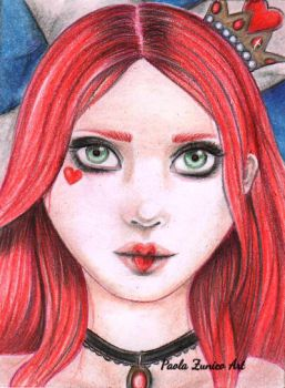 Queen of Heart ACEO card by PaolaZunico
