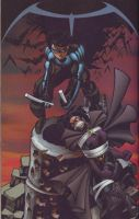 Huntress bound and gagged on Nightwing cover by detectivesambaphile