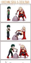 BNHA Kacchan, Deku and Excalibur by Suncelia
