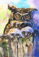 Owls family by GeorgeArt23