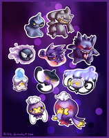 Ghost types sticker pack by Kiibie