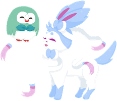 [F2U] Shiny Rowlet and Sylveon Pixel Doll by Pastellilapsi