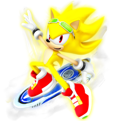 Super Sonic: Riders Outfit render by Nibroc-Rock