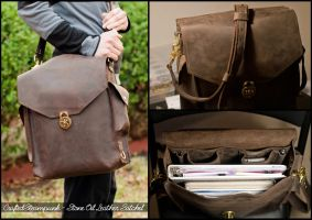 Stone Oil Leather Satchel by CraftedSteampunk