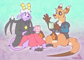 [Commission]  Cocoa with a Kangaroo by raizy
