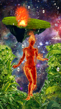 Collage Fire Roaming Girl In Space by pinkpussywillow
