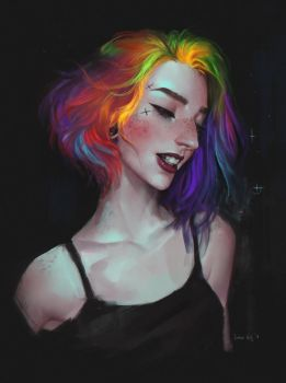 Rainbow portrait by Junica-Hots
