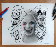 Harley Quinn Pencil Drawing by AtomiccircuS