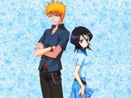 Bleach Rukia and Ichigo - Wall by tsunade487