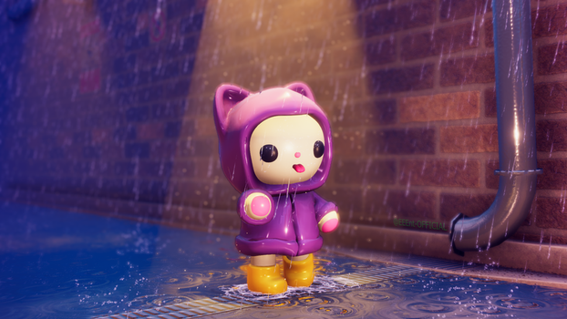 Raincoat Kitty Chibi by EEEnt-OFFICIAL