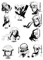 Naruto characters: one by Fomle-chan