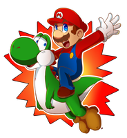 Mario and yoshi ride by MarioCatBros123