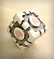 Cosplay work - mini weighted companion cube PORTAL by Emme-Gray