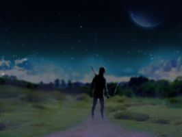 Wondering Archer in a Dreamy Moon-lit Night  by Deshhh