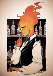 Day 2. Grillby + Tranquil [Inktober] by elleap