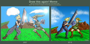 Cloud VS Link [draw this again Meme] by Dragonfunk7
