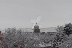 Snow covered Boise Capitol by ShawnHenry