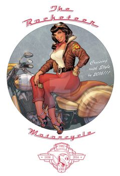 Betty Page Riding the Rocketeer Motorcycle