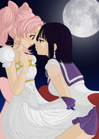 Princess Chibi Usa + Sailor Saturn by TeaganLouise
