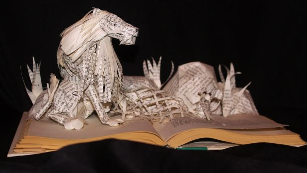 The Lion and the Mouse Book Sculpture by wetcanvas