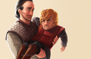 Bronn and Tyrion by nekokonut