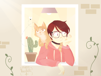 Self portrait with cat by Noodlette