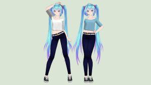 [MMD] Casual Miku (Casual Collab) by piegirl333