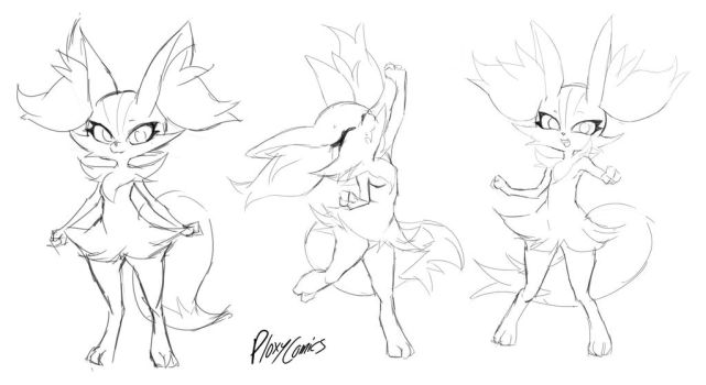 Happy Braixen Sketches by MurPloxy