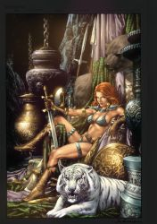 Red Sonja lounging by ToolKitten
