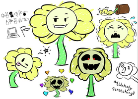 Flowey Sketches by PastelCandyy