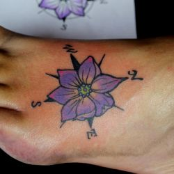 Jalapeno Blossom Compass Tattoo by mrinx
