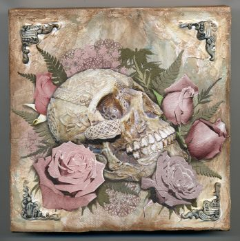 Skull and Roses on Canvas by SerenityNme