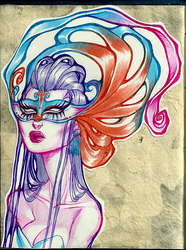 COPIC - mask lady by Pirate-Cashoo