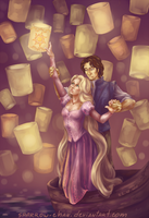 Tangled: Rapunzel and Flynn by sparrow-chan