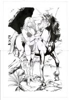red sonja e unicornio by amorimcomicart