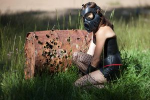 Gas masked beauty - With a video game favorite by Cyberfoxbat