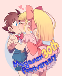 Roll congratulates Megaman in his 30th anniversary by Sony-Shock