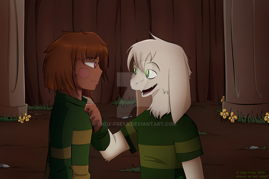 Resettale Asriel and Chara by lady-freya