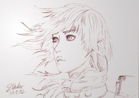 Final Fantasy XIII-2 - Lightning Pencil Drawing by twovader