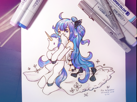 Unicorn (Inktober2018 1/31) by FoxInShadow