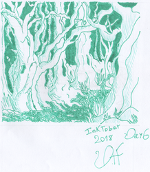 Inktober Day 6 - The Ancient Forest by Dark-TL