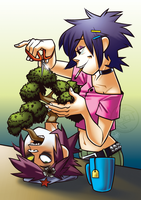 GorillaZine - Noodle's Bonsai by AdriOfTheDead
