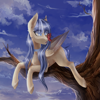 Pony with butterfly by AliceSmitt31
