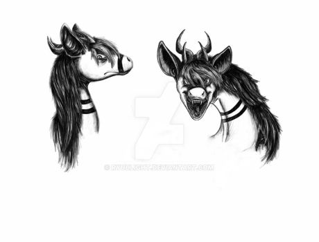 Tekalii angry head sketches by RyuuLight