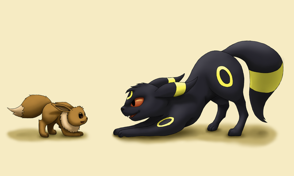 Eevee and umbreon by Difixini