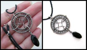 silver and onyx necklace by annie-jewelry