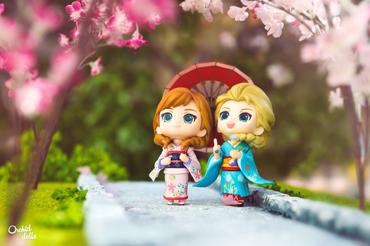 Random thoughts . Anna and Elsa - Hanami by OrchidDolls