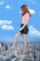 Giantess Romina's Curious Steps by dochamps